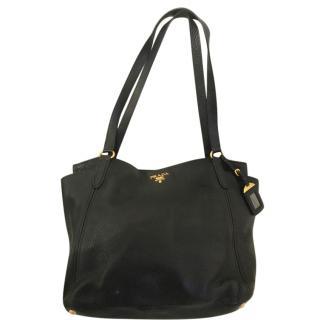 Prada Grained Leather Black Tote Bag