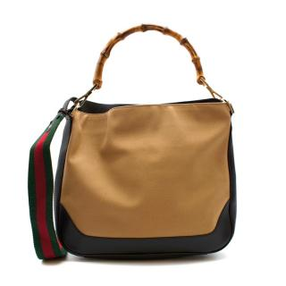 Gucci Beige & Brown Canvas & Leather Vintage Hobo Bamboo Bag