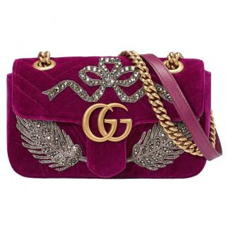 Gucci Velvet Embroidered Mini Marmont Shoulder Bag