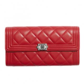 Chanel Red Lambskin Boy Long Flap Wallet