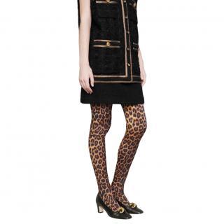 Gucci Runway Leopard Print Silk Tights