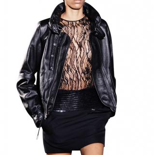 Saint Laurent Black Glossy Leather Jacket with Detachable Hood