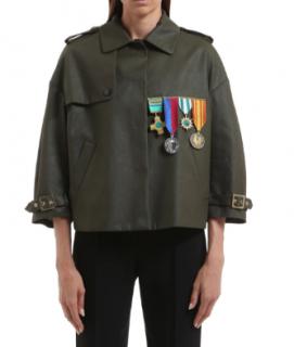 Stella Jean Coated Cotton Khaki Applique Boxy jacket