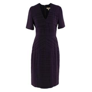 Burberry Aubergine Crepe Pleated Short Dress