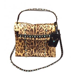 Valentino Calf Hair Leopard Print Rolling Rockstud Satchel Bag