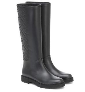 Fendi Black Leather Monogram Embossed Knee Boots