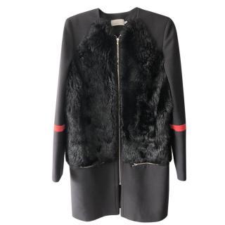 Preen by Thornton Bregazzi Shearling Paneled Black Wool Coat