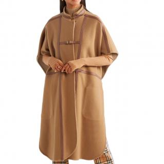 Burberry Camel Leather Trimmed Wool Blend Cape Coat