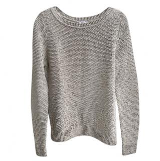 Oscar De La Renta Metallic Open Knit Sequin Jumper