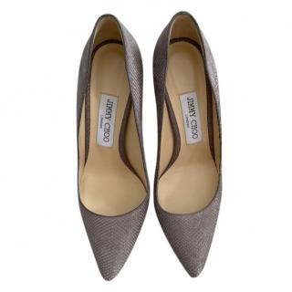 Jimmy Choo Embossed Taupe Classic Pumps