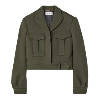 Saint Laurent Khaki Wool Utility Jacket