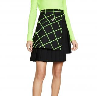 Off White Black/Neon Wool Blend Pleated Skirt