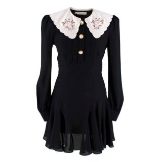 Alessandra Rich Black Long-Sleeved Mini Dress with Embroidered Collar