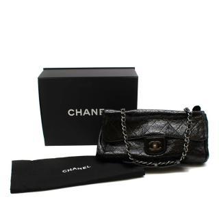 Chanel Black Patent Aged Leather Double Compartment Shoulder Flap Bag