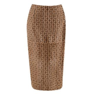 Celine Camel Pony Hair Vintage Monogram Skirt