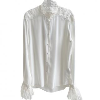Ermanno Scervino Ivory Lace Trim Silk Blouse