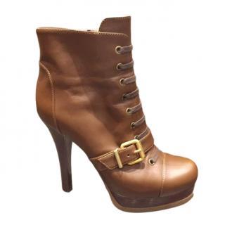 Fendi Tan Platform Buckle Detail Ankle Boots