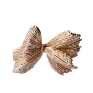 Dior Vintage Gold Plated Textured Bow Brooch