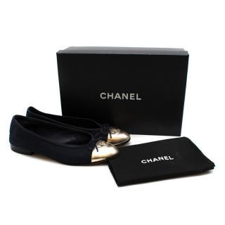Chanel Navy & Gold Canvas & Leather CC Ballerina Flats