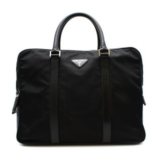 Prada Black Nylon Double Compartment Briefcase