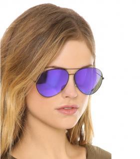 Victoria Beckham Black/Blue Aviator Sunglasses