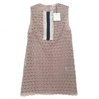 Sandro pink embroidered lace sleeveless mini dress