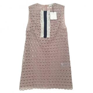 Sandro pink embroidered lace sleeveless mini dress