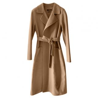 Max Mara Camel Wool Double Face Wrap Coat