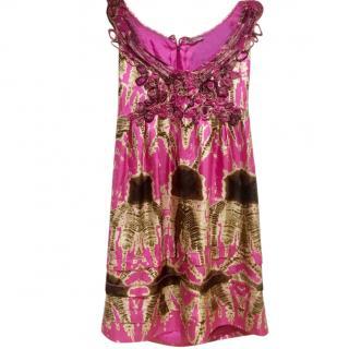 Ermanno Scervino Pink Tie-Dye Embellished Mini Dress