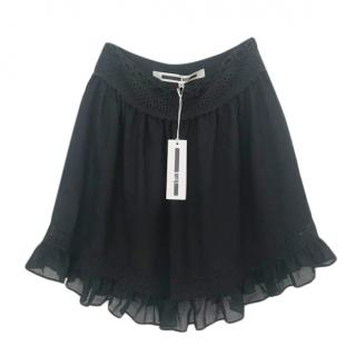 McQ Black Embroidered Mini Skirt