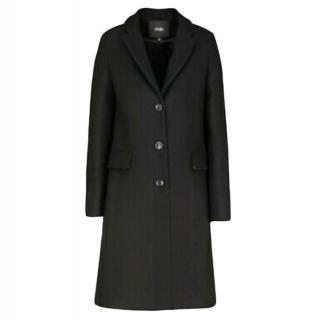 Maje Black Tartan Trimmed Wool Blend Coat