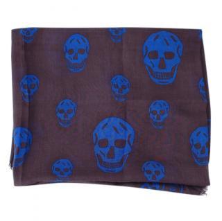 Alexander McQueen Skull Print Silk Blend Scarf