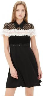 Sandro Black & White Crochet Lace Detail Dress