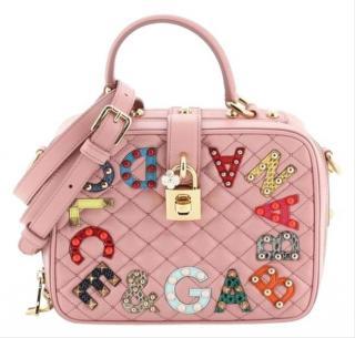 Dolce & Gabbana Pink Quilted Embellished Top Handle Bag