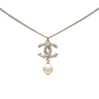 Chanel Faux Pearl CC Drop Necklace