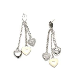 Dior Silver Tone Crystal Embellished Enamel Heart Drop Earrings