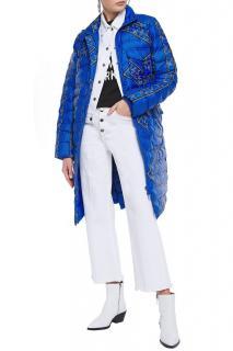 Ganni Blue Bandana Print Puffer Coat