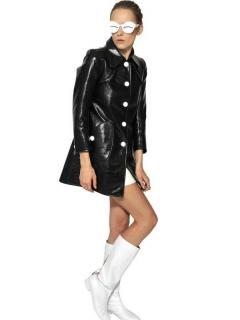 Courreges Black Techno Vinyl Trench Coat