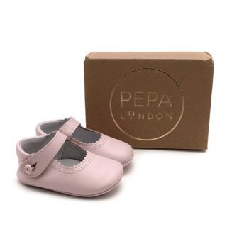 Pepa & Co Pink Mary Jane Leather Pram Shoes