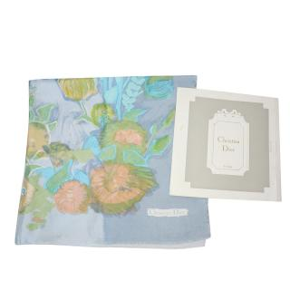 Dior Pastel Vintage Floral Print Silk Scarf