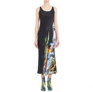 Maison Margiela Silk Blend Moving Metallics Print Dress