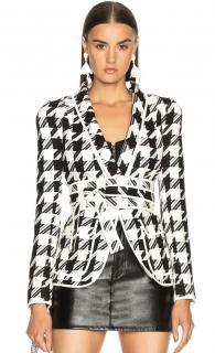 Pierre Balmain Black & White Houndstooth Tweed Jacket