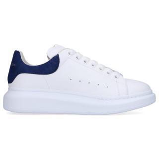 Alexander McQueen White/Metallic Navy Oversize Sneakers