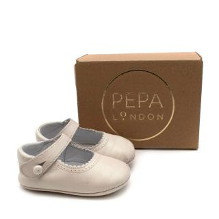 Pepa & Co Ivory Mary Jane Leather Pram Shoes