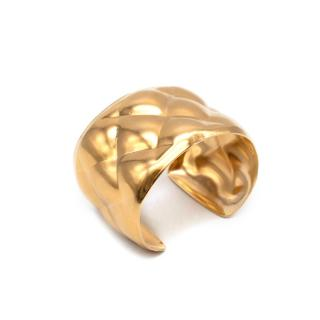 Bespoke Gold Tone Metal Quilted Effect Cuff