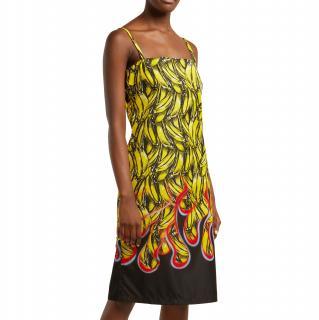 Prada Banana & flame-print gabardine dress