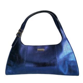 Gucci Metallic Lizard Embossed Blue Stirrup Bag