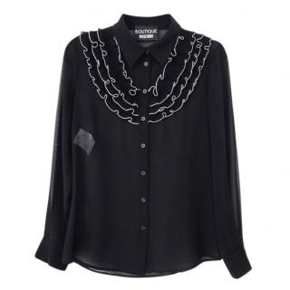 Boutique Moschino Black Ruffled Sheer Blouse