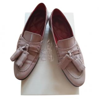 Burberry Patent Leather Nude Tassel Loafers