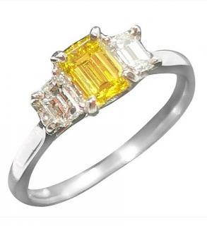 Bespoke Platinum Set Yellow & White Diamond Trilogy Ring